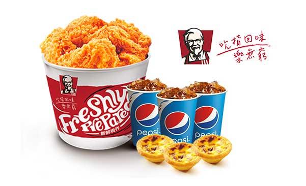 肯德基惠組合:五塊雞(桶) +3 顆原味蛋撻 +3 杯冰紅茶(小) = NT$256 (原價 370 元)