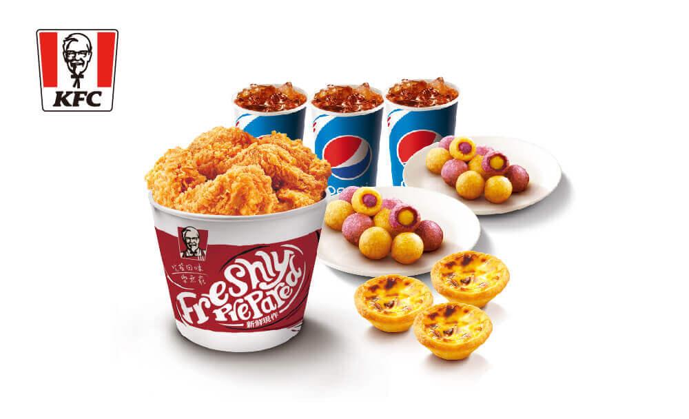 肯德基 5塊雞(桶)+2份雙色地瓜QQ球+3顆原味蛋撻+3杯冰紅茶(中)=329元(原價483元)